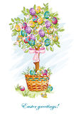 Festive postcard with Easter eggs and baskets-EPS10. Festive postcard with Easter eggs and baskets Stock Photo