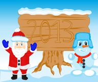 Festive postcard to new year. Festive illustration with santa and person blinded from snow Royalty Free Stock Image
