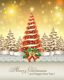 Festive poster with a Christmas tree. And bells on a brilliant background Stock Images