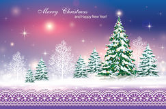 Festive poster with a Christmas tree. Celebration poster with elegant Christmas tree in a winter landscape Vector Illustration