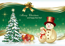 Festive poster with Christmas tree. Festive poster with a Christmas tree and snowman Stock Illustration