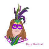 Festive poster concept. Mardi Gras holiday celebration. Freehand sketch girl in carnival mask. Masquerade parade traditional symbol. Traditional holiday sign Royalty Free Stock Image