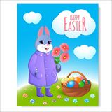Easter bunny poster with basket-05. Festive poster for Easter. Easter bunny in a purple cloak with a basket of painted eggs and gerberas. Easter cake with a Royalty Free Stock Images