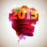 Festive poster 2015. Festive poster 2015 . Gifts and colored ribbon Royalty Free Stock Image