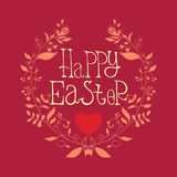 Festive poster Happy Easter with decorative elements, quotes. Festive leaflet Happy Easter with decorative elements, swirls, quotes. Сard, postcard, poster Royalty Free Stock Photos