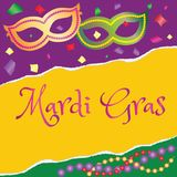 Festive poster Mardi Gras masks and colorful beads.  Royalty Free Stock Images