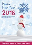 Festive poster with a new year and a Merry Christmas. Greeting card with a snowman on a background of snow. Flat vector. Illustration EPS10 Stock Photography