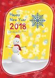 Festive poster with a new year and a Merry Christmas. Greeting card with a snowman on a background of snow. Flat vector. Illustration EPS10 Stock Image