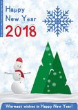 Festive poster with a new year and a Merry Christmas. Greeting card with a snowman on a background of trees and snow. Flat vector illustration EPS10 Royalty Free Stock Images