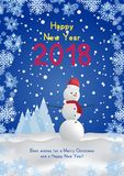 Festive poster with a new year and a Merry Christmas. Greeting card with a snowman on a background of trees and snow. Flat. Illustration EPS10 Stock Images