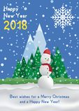 Festive poster with a new year and a Merry Christmas. Greeting card with a snowman on a background of trees and snow mountains. Fl. At  illustration EPS10 Stock Photos