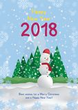 Festive poster with a new year and a Merry Christmas. Greeting card with a snowman on a background of trees and snow mountains. Fl. At  illustration EPS10 Stock Photo