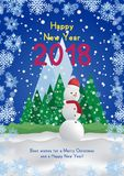 Festive poster with a new year and a Merry Christmas. Greeting card with a snowman on a background of trees and snow mountains. Fl. At  illustration EPS10 Royalty Free Stock Photo