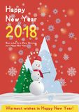 Festive poster with a new year and a Merry Christmas. Greeting card with a snowman on a background of trees and snow. Mountains. Flat vector illustration EPS10 Royalty Free Stock Photo