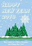 Festive poster with a new year and a Merry Christmas. Greeting card with a trees and snow. Flat  illustration EPS10.  Royalty Free Stock Photography