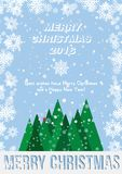 Festive poster with a new year and a Merry Christmas. Greeting card with a trees and snow. Flat  illustration EPS10.  Stock Photography