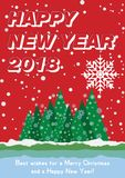 Festive poster with a new year and a Merry Christmas. Greeting card with a trees and snow. Flat  illustration EPS10.  Stock Photo