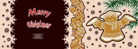 Festive poster with a pattern of Christmas gingerbread. Festive poster with a picture of Christmas gingerbread Royalty Free Stock Photography