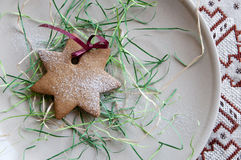Festive powdered star cookie Stock Photo