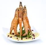 Festive prawn plate Royalty Free Stock Photos