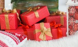 Festive presents  under holiday Christmas tree Royalty Free Stock Images