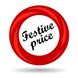 Festive price colorful icon. Festive price colorful web icon button of vector illustration on isolated white background with shadow Royalty Free Stock Photography