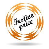 Festive price colorful icon. Festive price colorful web icon button of vector illustration on isolated white background with shadow Royalty Free Stock Photos