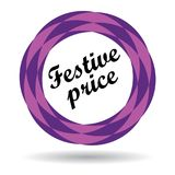 Festive price colorful icon. Festive price colorful web icon button of vector illustration on isolated white background with shadow Stock Photos