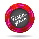 Festive price colorful icon. Festive price colorful web icon button of vector illustration on isolated white background with shadow Royalty Free Stock Image