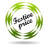 Festive price colorful icon. Festive price colorful web icon button of vector illustration on isolated white background with shadow Stock Images