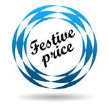Festive price colorful icon. Festive price colorful web icon button of vector illustration on isolated white background with shadow Stock Photo