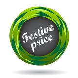 Festive price colorful icon. Festive price colorful web icon button of vector illustration on isolated white background with shadow Stock Photography