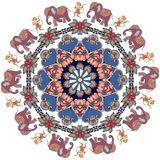 Festive print in african style. Poster with cute animals and flower-mandala. Round pattern with dancing monkeys and cartoon elephants. Greeting card, wrapping Stock Images