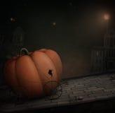 Festive Pumpkin. Night Road. Festive Pumpkin, Halloween. Background or an illustration for Halloween. Computer graphics Stock Photo
