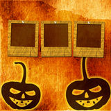 Festive pumpkin Halloween Day with  slides. On the abstract paper background Royalty Free Stock Image