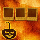 Festive pumpkin Halloween Day with  slides. On the abstract paper background Stock Photos