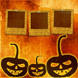 Festive pumpkin Halloween Day with  slides. On the abstract paper background Stock Image