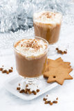 Festive pumpkin latte and almond biscuits, top view Royalty Free Stock Photos