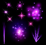 Festive purple firework set. On black background. Vector illustration Royalty Free Stock Photos