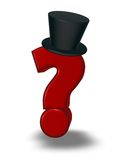 Festive question mark. Question mark with topper on white background - 3d illustration Royalty Free Stock Photo