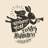 Festive rabbit, symbol. Wishing you Easter happines, lettering. Greeting card, vector illustration Stock Images
