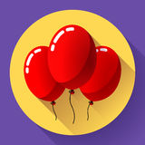 Festive red air balloons icon holiday symbol, birthday party Stock Photos