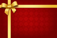 Festive red background with gold ribbon and bow Royalty Free Stock Image
