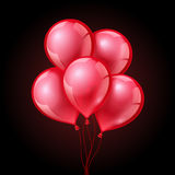 Festive red balloons on  plaid transparent background. Vector illustration Stock Photo