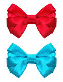 Festive red and blue bow Royalty Free Stock Images