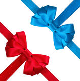 Festive red and blue bow Stock Images