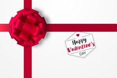 Festive red bow on a box with a gift for St. Valentine`s Day. Realistic vector illustration.  Stock Photos