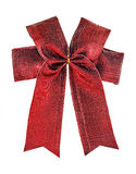 Festive red bow made of ribbon isolated on white Stock Photos
