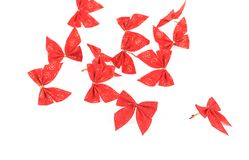Festive red bow made of ribbon. Royalty Free Stock Image