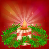 Festive red bright background. Beautiful candle. Branches of trees. Preparing for Christmas. Harvesting design. Vector Royalty Free Stock Photography